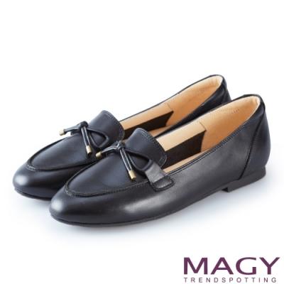 MAGY 經典英倫 素雅牛皮百搭平底鞋-黑色