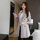 【AIRKOREA正韓空運】格紋雙排扣大衣外套