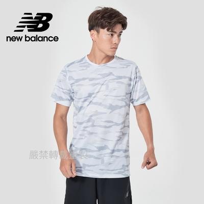 【New Balance】DRY運動短袖上衣_男性_白迷彩_AMT03204LCL