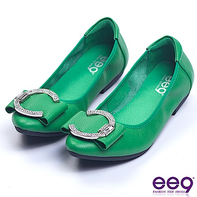 ee9 芯滿益足閃耀星光鑲鑽飾帶娃娃鞋 綠色