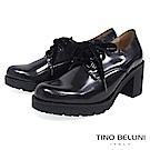 Tino Bellini 西班牙進口珠光元素綁帶粗跟鞋 _ 炫光黑