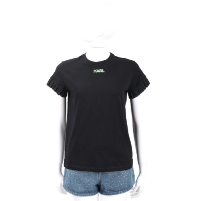 KARL LAGERFELD Neon Lights 螢光字母荷葉袖黑色棉質T恤