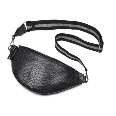 MARKBERG Elinor 丹麥手工牛皮時尚艾利諾寬帶腰包 胸包 斜背包(鱗紋黑)