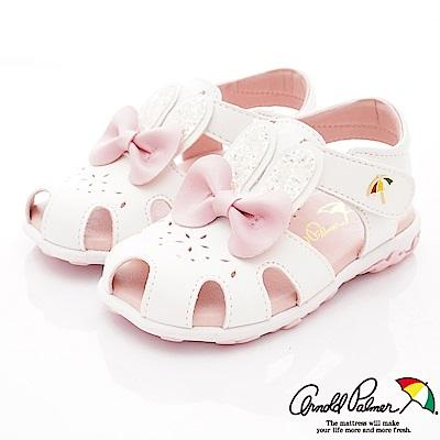 雨傘牌 晶亮兔耳朵護趾涼鞋款 EI93858白(小童段)