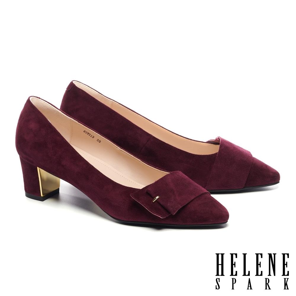 高跟鞋 HELENE SPARK 內斂時尚金屬點綴全真皮高跟鞋-紅