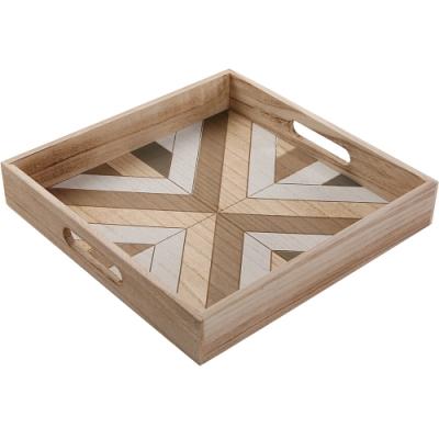 《VERSA》木製方形托盤(幾何)
