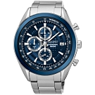 SEIKO精工   時尚瑞璽三眼計時視距儀石英腕錶(SSB177P1)-藍x45mm