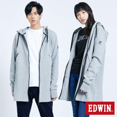 EDWIN EFS機能長版連帽外套-中性-麻灰色