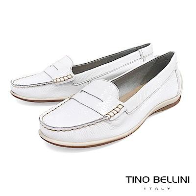 Tino Bellini 巴西進口經典復刻漆皮休閒莫卡辛鞋 _ 亮白