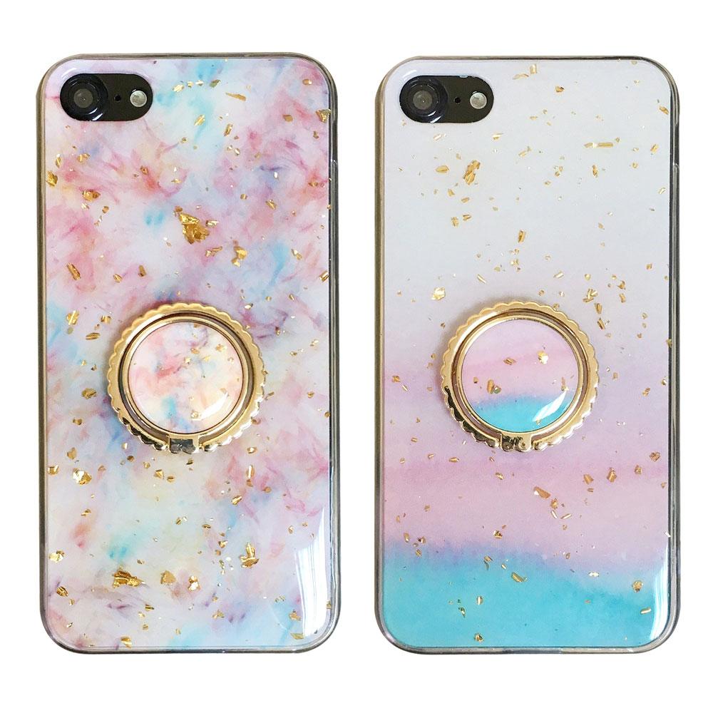 【TOYSELECT】iPhone 7/8 Plus 粉嫩櫻花季金箔指環手機殼
