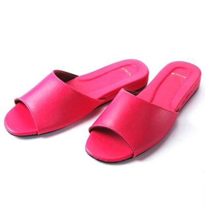 日式仿羊皮手工室內拖鞋-桃紅色×2雙