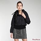 KeyWear奇威名品     時尚保暖鴨絨連帽短版長袖外套-黑色