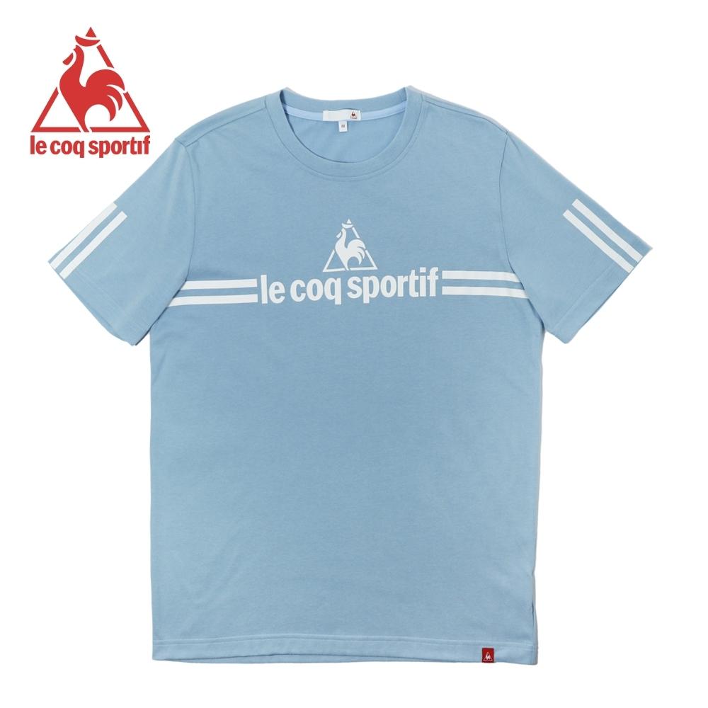 le coq sportif 法國公雞牌經典品牌LOGO雙線條短袖T恤 男-灰藍