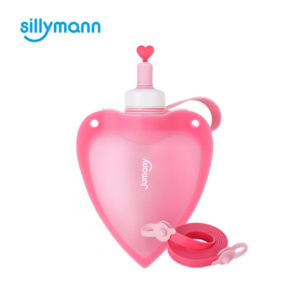 韓國sillymann-100%兒童便攜捲式鉑金矽膠心型水瓶-250ml