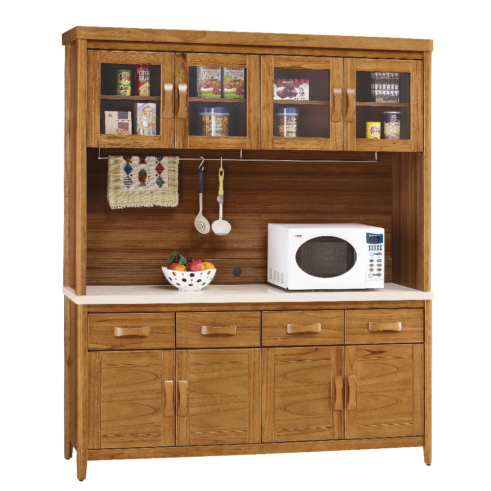 MUNA 愛莉絲柚木5.4尺石面餐櫃(碗盤櫃組) 164X43X80cm