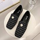 韓國KW美鞋館 法式淑女珍珠氣質樂福鞋-黑色絨面