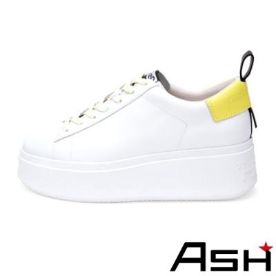 ASH-MOON系列時尚簡約厚底增高小白鞋-黃