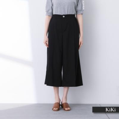 【KiKi】休閒開衩個性寬-長褲(二色/版型寬鬆)