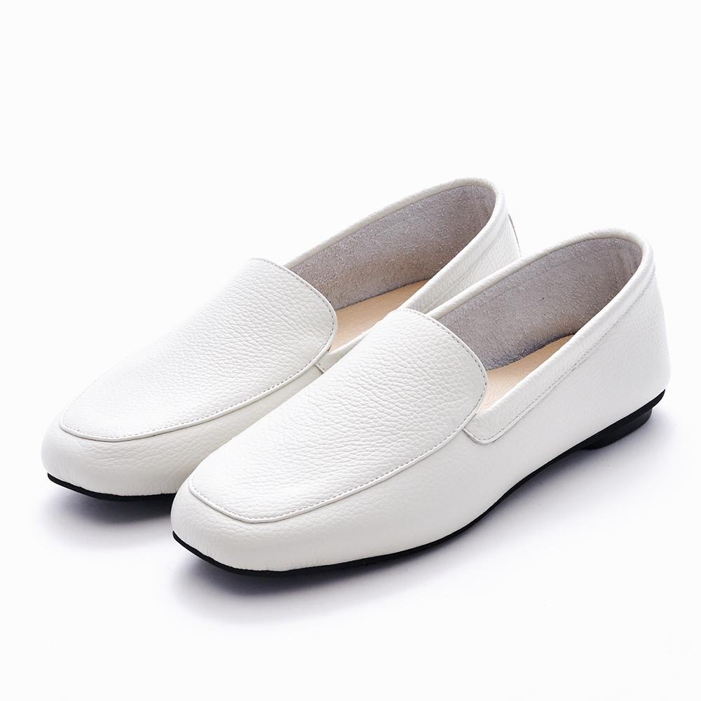 G.Ms. MIT系列-牛皮樂福休閒懶人平底鞋-米白