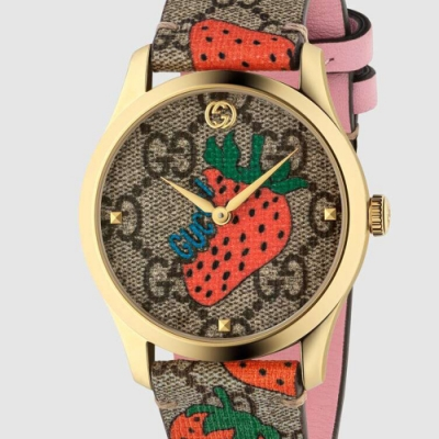 GUCCI 古馳 G-Timeless 草莓印花皮帶款(YA1264133) x38mm