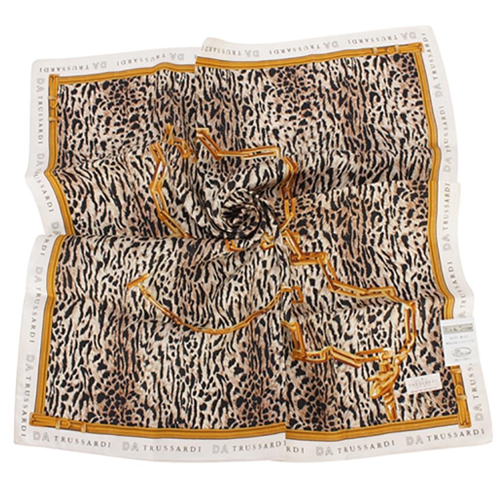 TRUSSARDI 豹紋鎖鏈帕巾(淺咖)