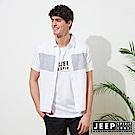 JEEP 文青造型復古短袖襯衫-白色