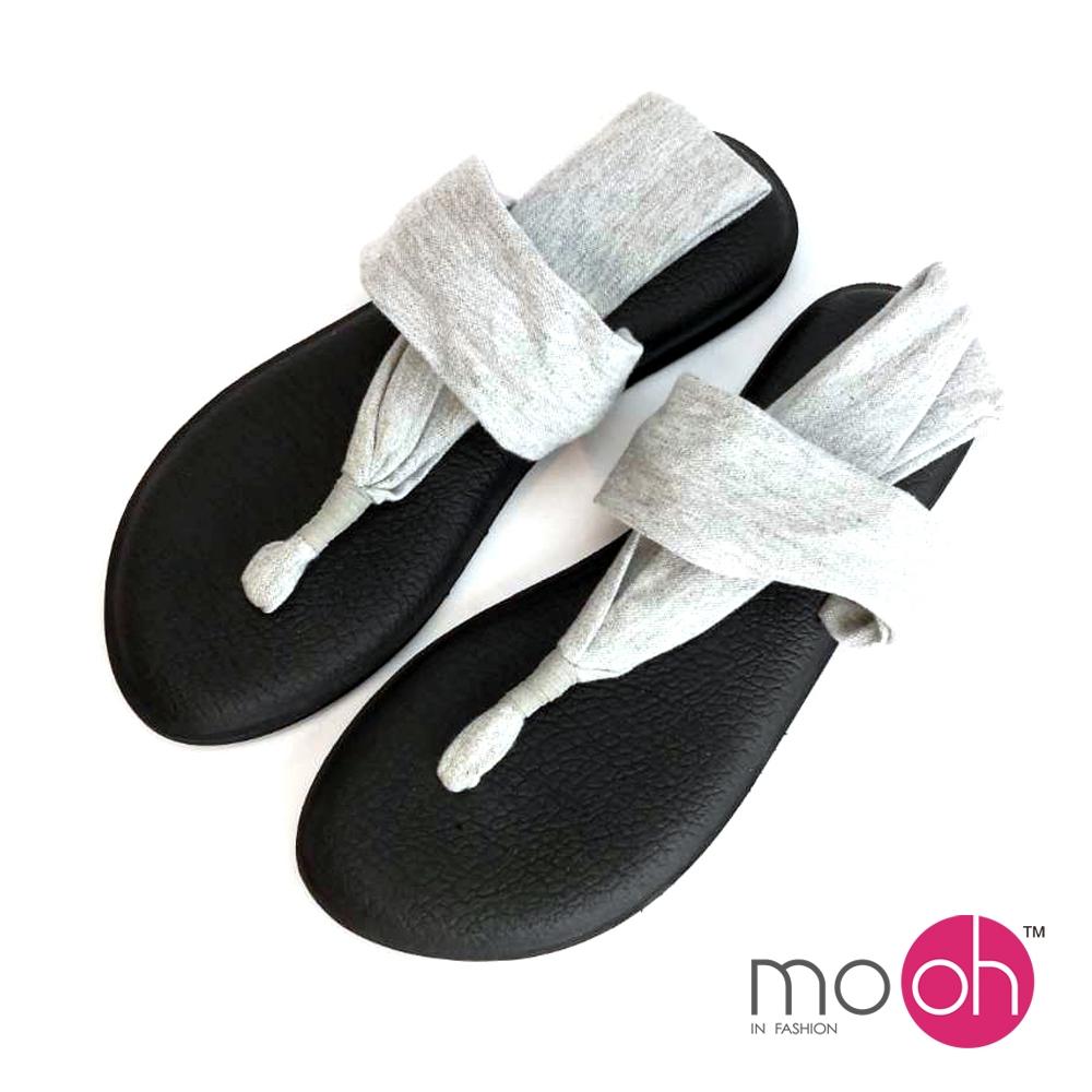 mo.oh-棉布舒適瑜珈人字夾腳涼鞋-灰色