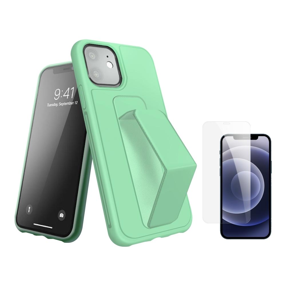 [買手機殼送保護貼] iPhone 12 支架 手機殼 -綠色 贈 手機 保護貼-綠色*1/贈透明貼*1