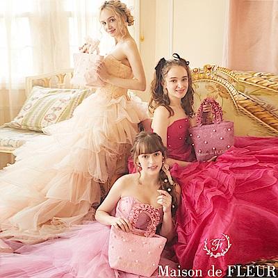 Maison de FLEUR 蕾絲珍珠荷葉邊手提包