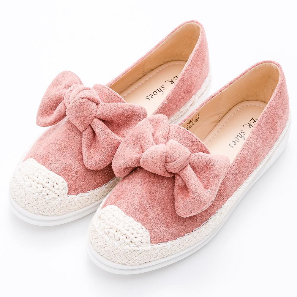River&Moon懶人鞋-俏皮大朵結細絨麻編豆豆休閒鞋-粉橘 @ Y!購物