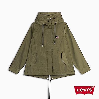 Levis 女款 連帽防風外套 Logo帽子 Sportswear 軍綠