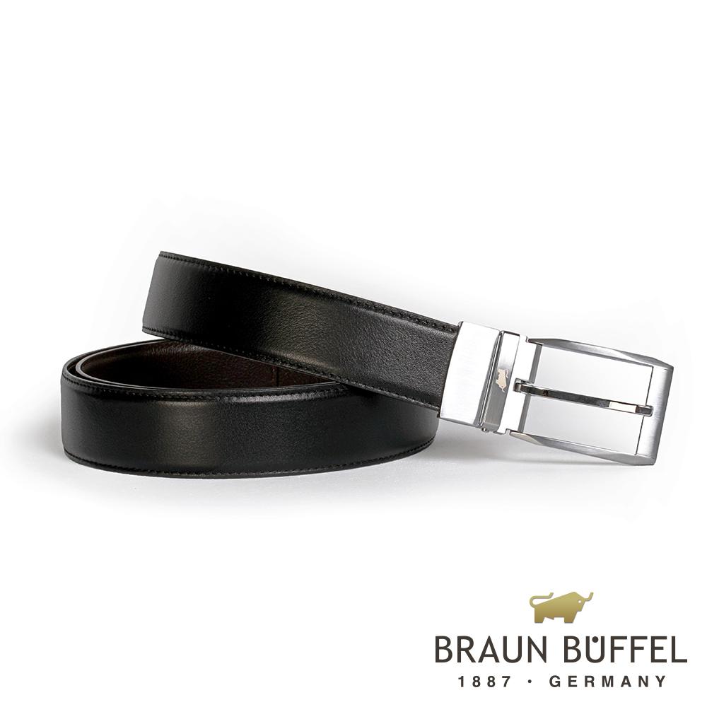BRAUN BUFFEL - 經典紳士品味穿針式皮帶 - 銀色