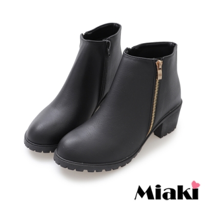 Miaki-短靴秋冬定番拉鍊中跟踝靴-黑