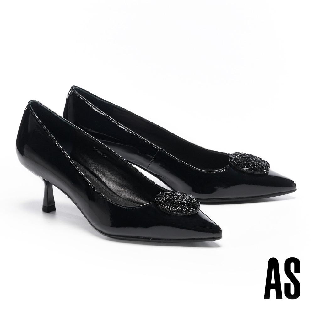 高跟鞋 AS 都會時尚金屬線圈圓釦漆皮尖頭高跟鞋-黑