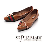 Fair Lady Soft芯太軟 金屬框飾雙色帶尖頭平底鞋 棕