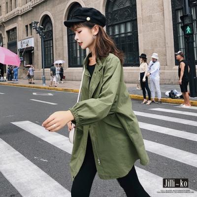 JILLI-KO 韓版短領拉鍊風衣外套- 綠