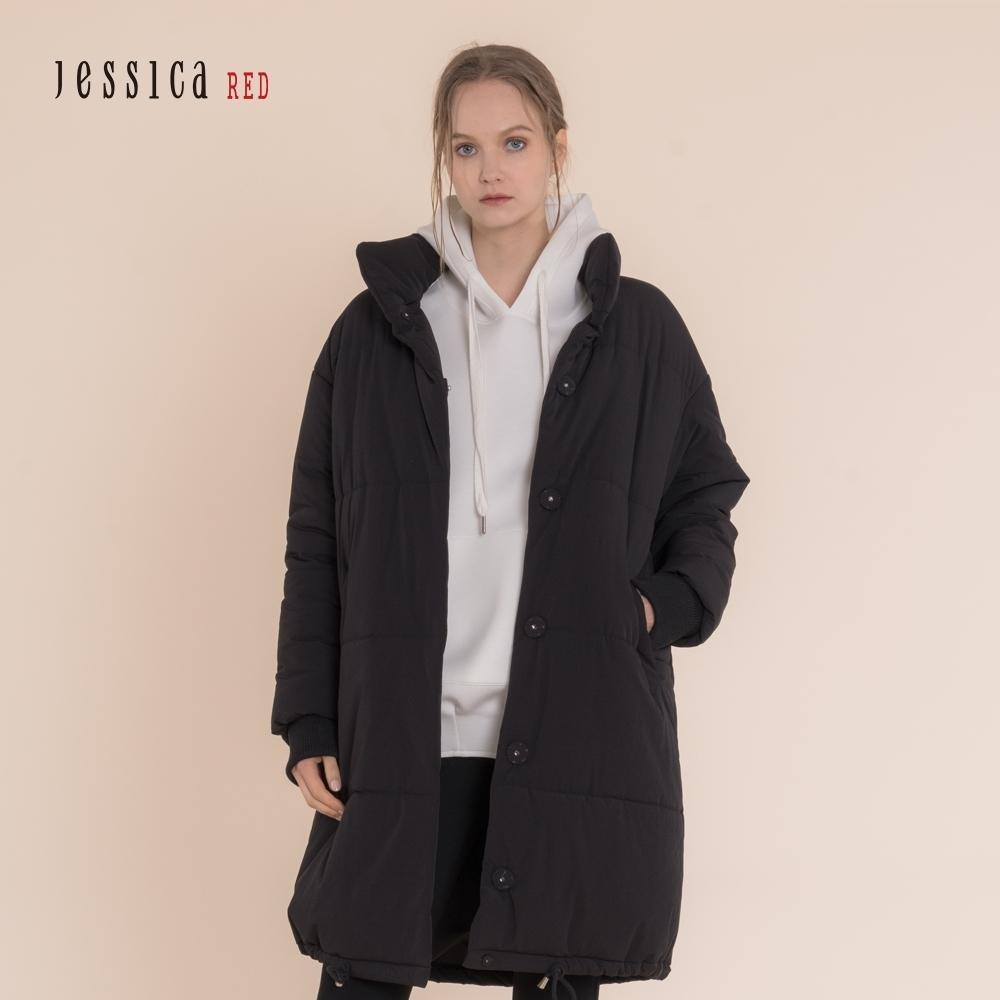 JESSICA RED - 黑色立領落肩口袋保暖加厚棉衣外套