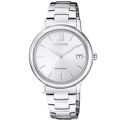CITIZEN 星辰光動能簡約時尚手錶(FE6090-85A)-銀/34mm