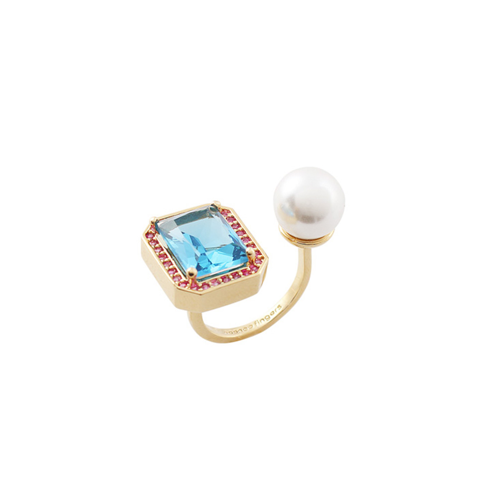 NOONOO FINGERS GLASS PEARL RING 玻璃珍珠 戒指
