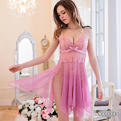 大尺碼  刺繡蕾絲不規則裙襬二件式睡衣 紫 L-2L Annabery