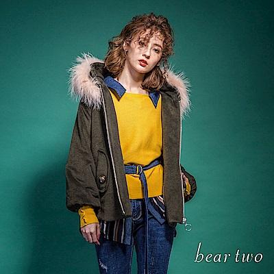 beartwo 毛領斗篷式毛料外套(二色)