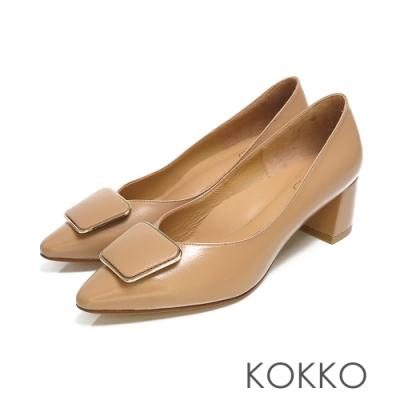 KOKKO - 赫本優雅金扣小方頭粗跟鞋-深粉膚