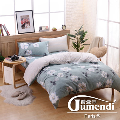 喬曼帝Jumendi 台灣製活性柔絲絨加大四件式被套床包組-花開綠意