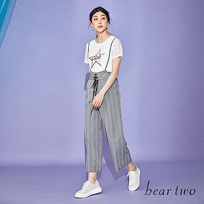 beartwo 前綁帶設計細肩格紋吊帶褲(黑色)
