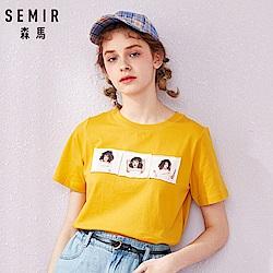 SEMIR森馬-少女寫真貼布浪漫短袖T恤-女