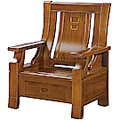 綠活居 威尼典雅風實木單人座沙發椅(單抽屜設置)-78x77x102cm免組