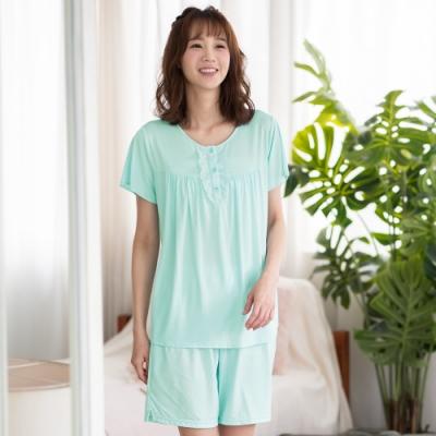 華歌爾睡衣-舒爽冰涼 M-L圓領短袖家居短褲裝(綠)緹織涼感紗
