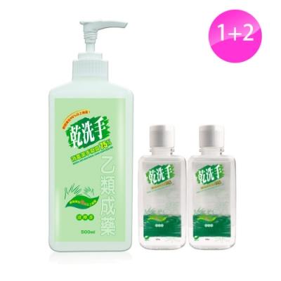 綠的GREEN 乾洗手消毒潔手凝露75% 500ml+60ml*2 (乙類成藥)+CSD中衛 時尚口罩 (2片/包)