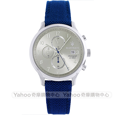 MASERATI 瑪莎拉蒂Gentleman三眼計時手錶-藍帶/42mm
