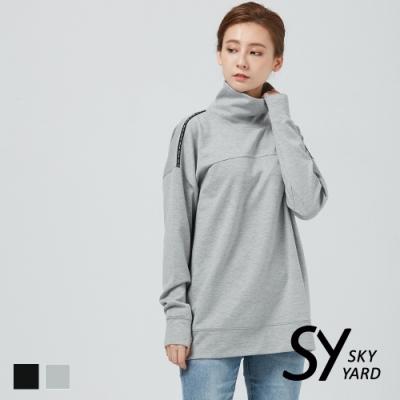 【SKY YARD 天空花園】立領織帶長袖衛衣-灰色